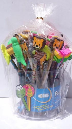 lápis fantasia c/borracha divertida sertic pacote c/ 48