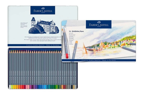 lápis goldfaber aqua faber-castell 36 cores + canson aqua a4