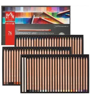 lápis luminance caran dache estojo 76 cores profissional