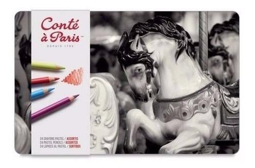 lápis pastel seco conté à paris 24 cores estojo lata