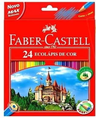 lapiz de cor faber castell c/24 cores + apontador brinde