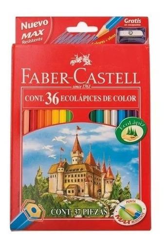 lapiz faber castell original caja x36 lapices colores largo