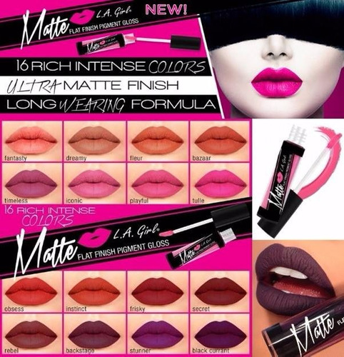 lapiz labial brillo mate l.a. girl original x12 docena