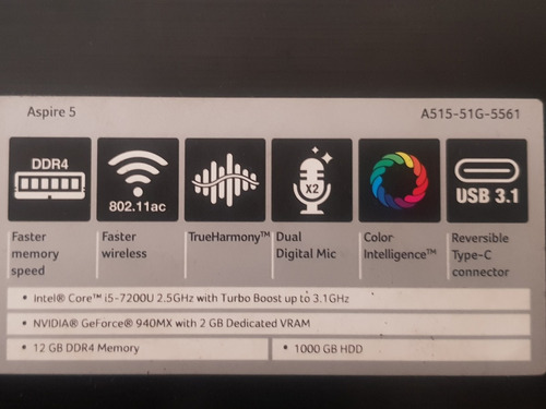 laptop acer aspire 5 corel i.5 7200u 2.5ghz turbo boost