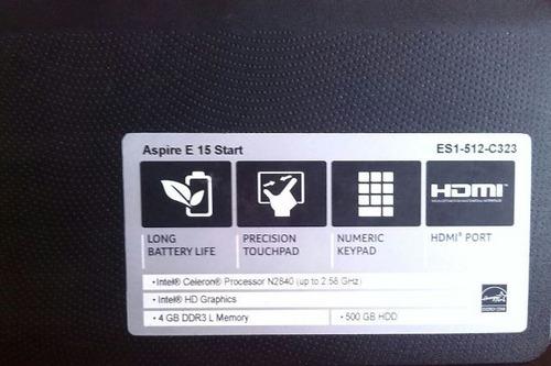 laptop acer aspire e15 start 4gb ram 500 gb disco duro