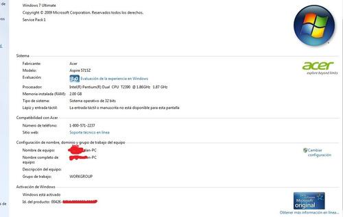 laptop acer aspire mod. 5715z 2gb ram, 120gb hd 1.87ghz