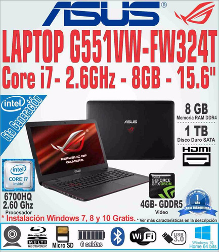 laptop asus rog g551vw-fw324t 15.6 i7 2.6ghz 8gb 1tb v4gb