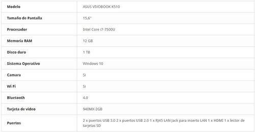laptop asus vivobook k510u core i7,12gb de ram video gt940mx