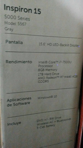 laptop dell core i7 6gen/1 tb/8 gb 15,6  video 4gb