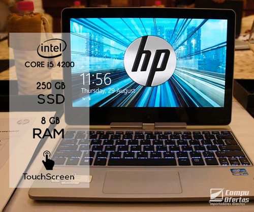 laptop hp, laptop, core i5 + disco sólido + touch + tablet