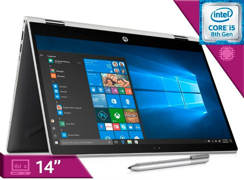 laptop hp pavilon x360 14 pulgadas táctil core i5 8th