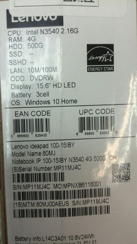 laptop lenovo 15.6  4gb ram win 10 500gb dd