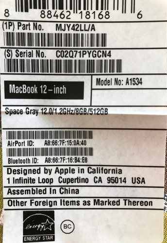 laptop macbook retina 12  space gray