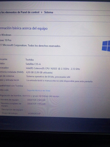 laptop toshiba satellite 55c, sin detalles