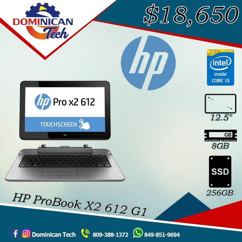 laptop y tablet hp probook 612 g1 core i5 4ta gen/8gb/256gb