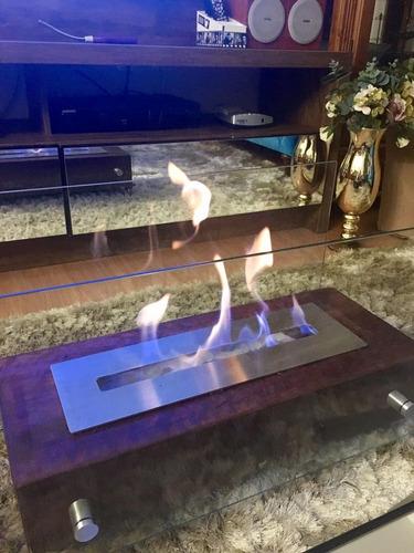 lareira ecológica completa 60cm, queimador 45cm aço inox316.