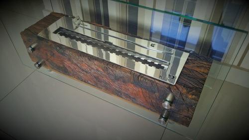 lareira ecológica completa queimador inox 50cm + brinde
