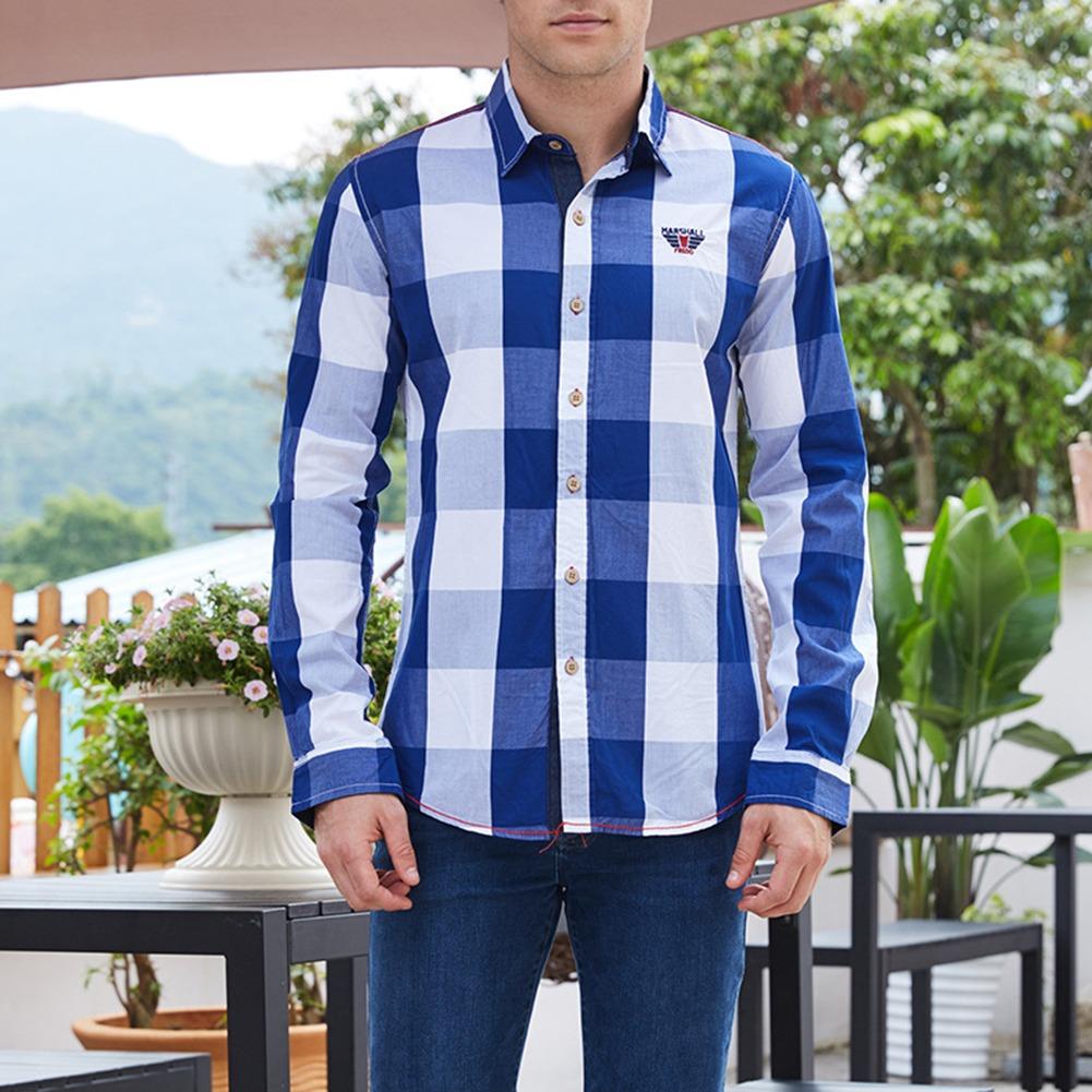e9155a71e5938 Camisa Informal Manga Larga A Cuadros Negro Para Hombre L -   571.08 ...