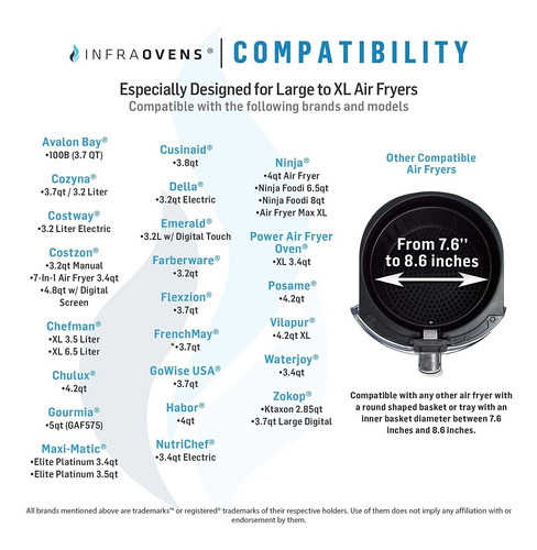 large air fryer accessories compatible with costway, ninja,