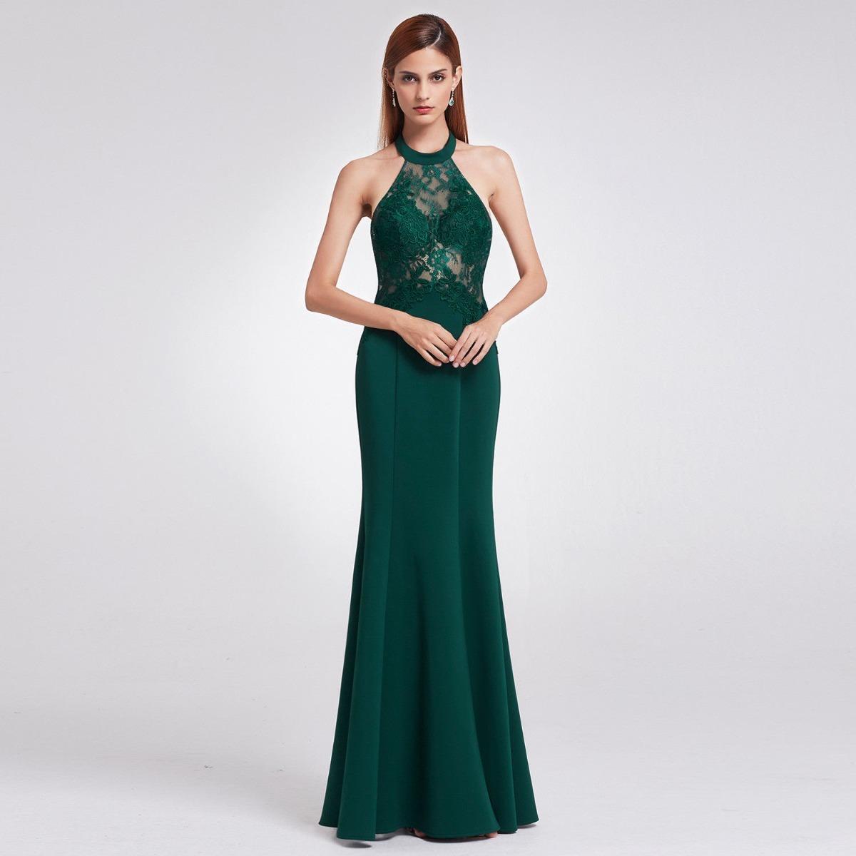 Vestido de gala verde