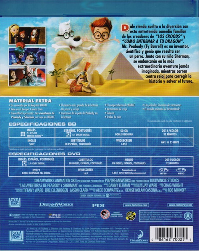 las aventuras de peabody y sherman pelicula blu-ray + dvd