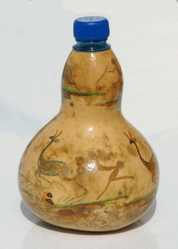 las botellas hechas en fruta seca, artesanias de lesoto