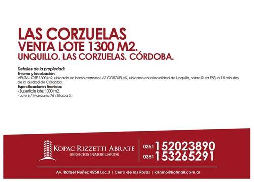 las corzuelas - venta lote 1300 m2.