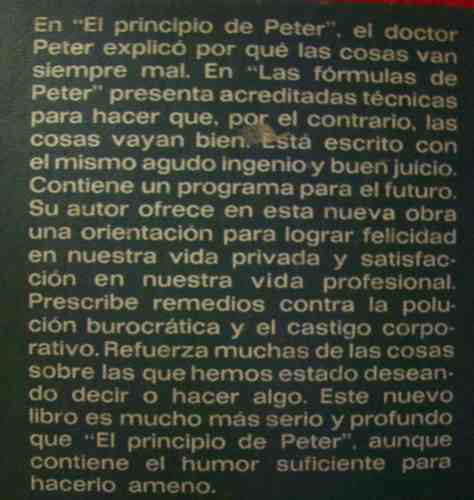 las formulas de peter dr laurence peter editó plaza & janés