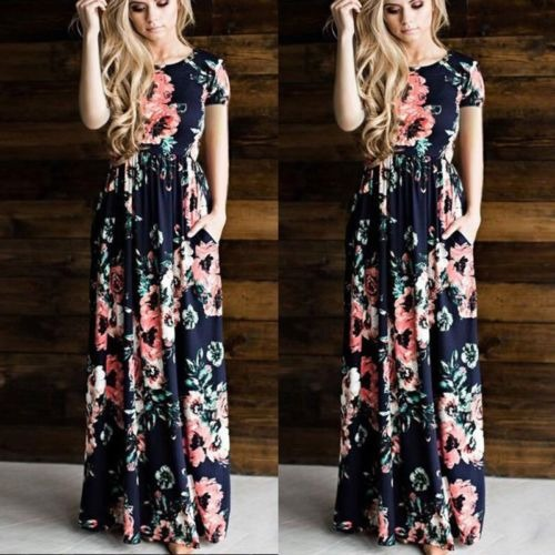 7f6f30e62 Las Mujeres Boho Maxi Vestido Largo Casual Elegante Flor De ...