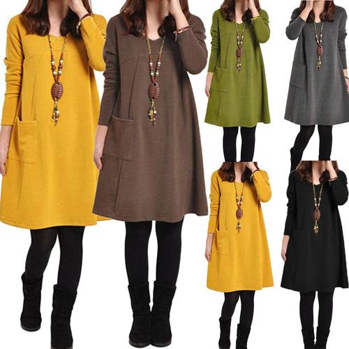 las mujeres otoño invierno vestido bolsillos de mangas larg
