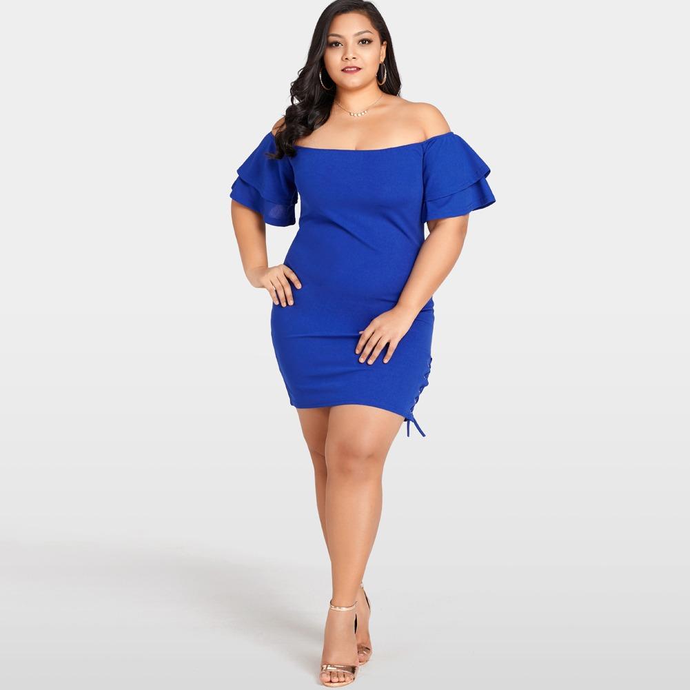 f9e0e0d7227 Mlm las mujeres sexy plus size dress solid del hombro layer jpg 1001x1001 Plus  size dress