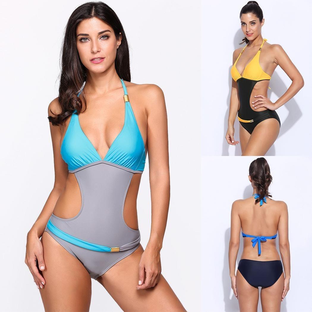 Contraste Bb Color Traje Baño Una Mujeres Las Pieza Sexy De dxoCBe