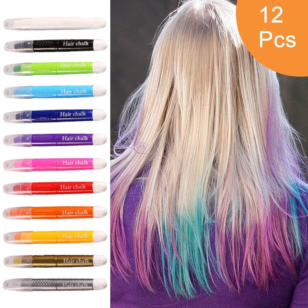2a1213a7d Las Plumas De Tiza Para Cabello Temporal 12 Colores, Color ...