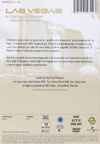 las vegas tercera temporada 3 tres dvd