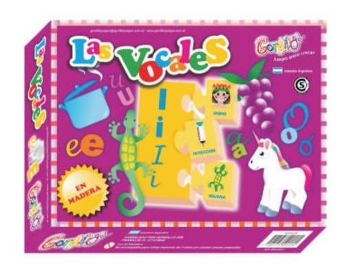 las vocales juego 20 fichas en madera gordillo, diverti toys