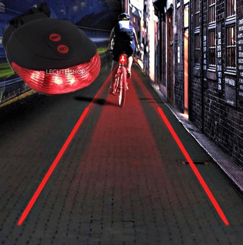 laser led bicicleta lampara ciclismo luz carril roja trasera
