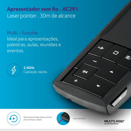 laser point apresentador de slides wireless ac291 multilaser