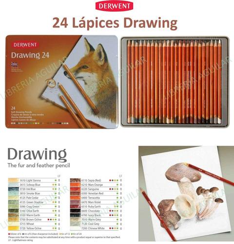 lata 24 lapices artísticos drawing derwent ingles terrosos