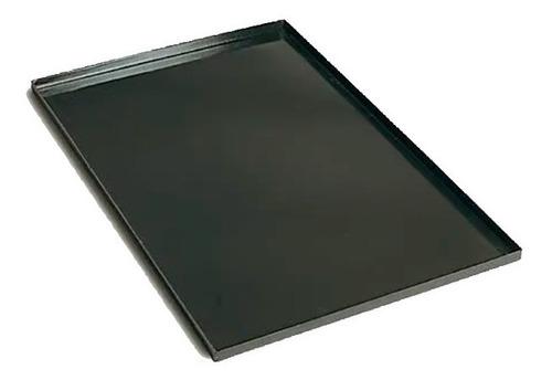 lata / bandeja panadera enlozada negra de 70x45x5 cm