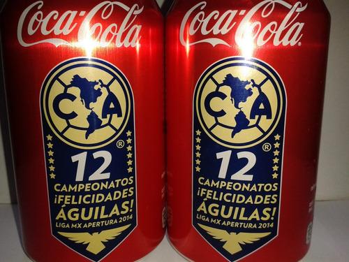 lata coca cola refresco botella club américa campeón 2014.