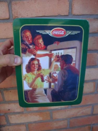 lata de chapa de coca cola motivo refrigerador publicidad