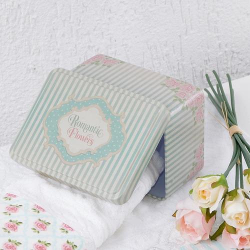 lata decorativa listrada estilo vintage floral romântico