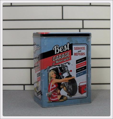 lata multiuso porta objetos retrô pin up linha moto garage