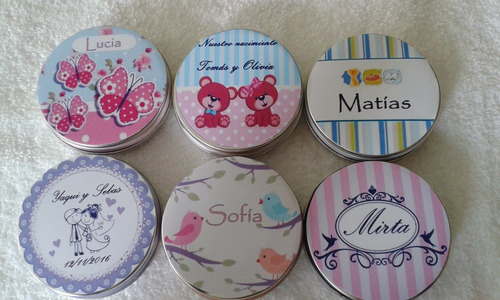 lata pastillero souvenirs personalizado + 2 jabones