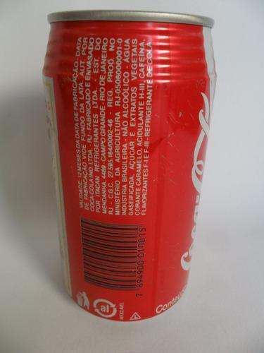 lata vazia latinha refrigerante coca cola ano 1994