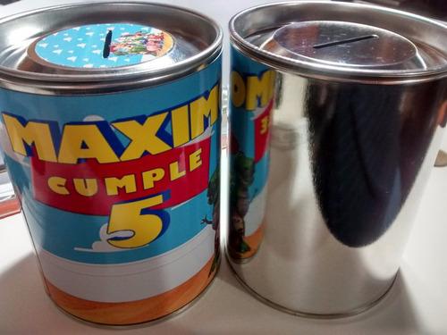 latas alcancias grandes 9x11cm tapa desmontable x 10unidades