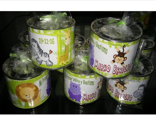 latas alcancías personalizadas - con tapa- en bolsa con moño