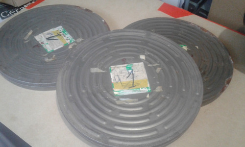 latas de rollos de peliculas de cine vacias aprox 45 cm diam