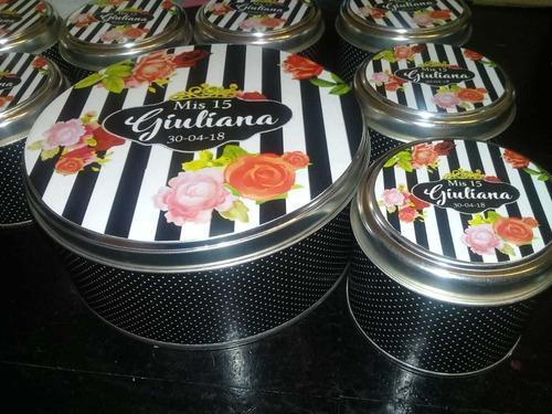 latas personalizadas souvenir 15 años. 100 unidades