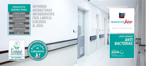 látex antibacterias 4lt hospitales, comedores, gimnasios..